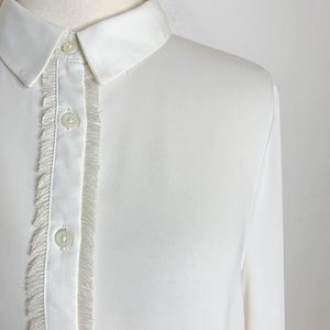 Zara - Ivory Fringe Trim Button Down Blouse Size L